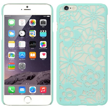 Insten Flowers Hard Rubber Case for Apple iPhone 6s Plus / 6 Plus - Teal
