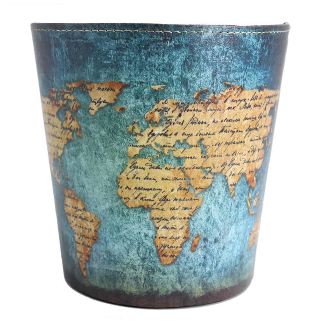 10L European Style Retro PU Leather Wastebasket Paper Basket Trash ...