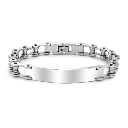 Identification Name Plate Engravable ID Bicycle Chain Bike Link For Men Bracelet Silver Tone Stainless Steel - Engravable Silver Plated
