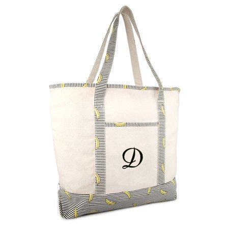 DALIX Personalized Shopping Tote Bag Monogram Striped Banana Ballent Zippered Letter- D