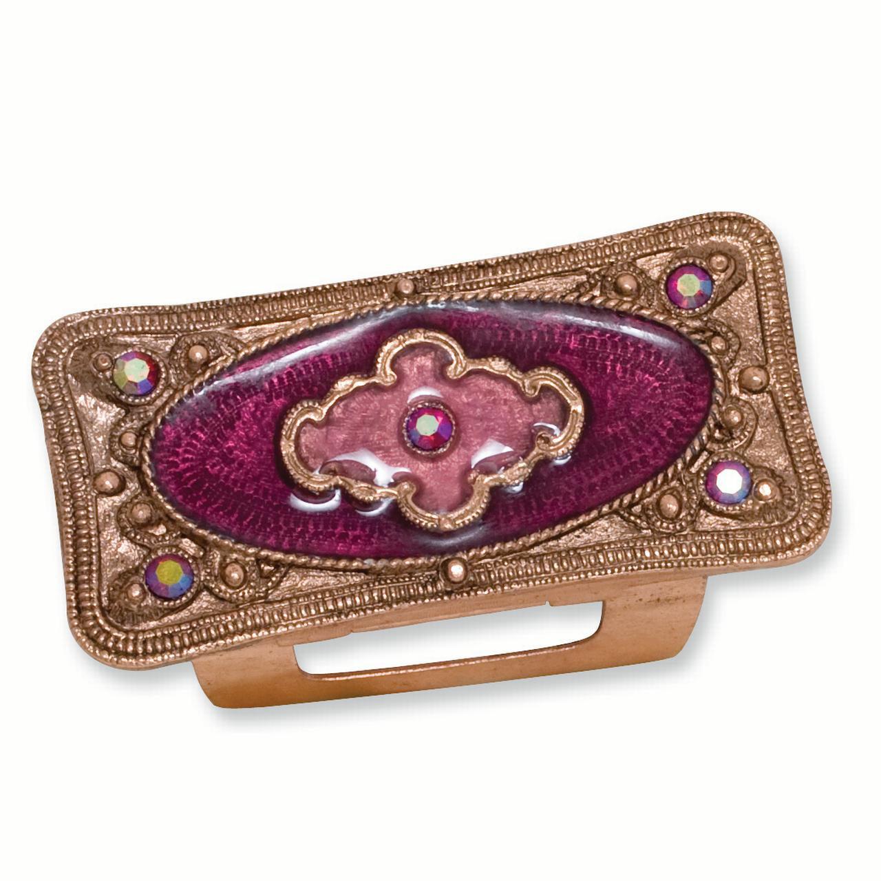 Copper Tone Purple Enameled Lipstick Holder Travel Pill Box Woman Compact For Women
