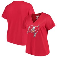 Women's Majestic Red Tampa Bay Buccaneers Plus Size Logo V-Neck T-Shirt
