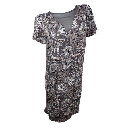 Ella Moss Women s Grey Multi Paisley Print Shift Dress - Walmart.com 72137f05f