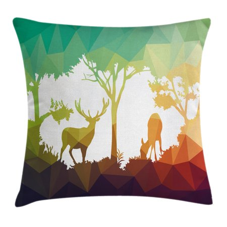 Wildlife Decor Throw Pillow Cushion Cover, Fractal Deer Family Geometric Cut Shapes Hunt Adventure Themed Desert Eco Graphic, Decorative Square Accent Pillow Case, 16 X 16 Inches, Multi, by Ambesonne - Desert Theme