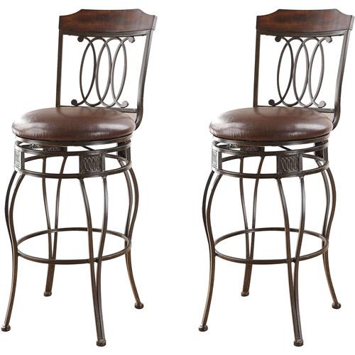Swivel Bar Chair acme argentina swivel bar chair, set of 2, espresso - walmart