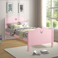 Platform Bed Frame, Twin Size Bed Frame, Wood Mattress Foundation Sleigh Bed Frame with Headboard/ Footboard for Adults Teens Children, Pink Twin Bed Frame with Wood Slat Support for Bed Room, I8883