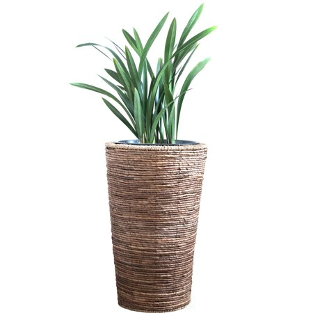 Wicker Banana Rope Tall Floor Planter with Metal Pot, Large (Floor Planter)