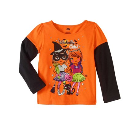 Cute Girl Halloween Names (Toddler Girls Orange Wickedly Cute Halloween Shirt Witch & Black Cat)