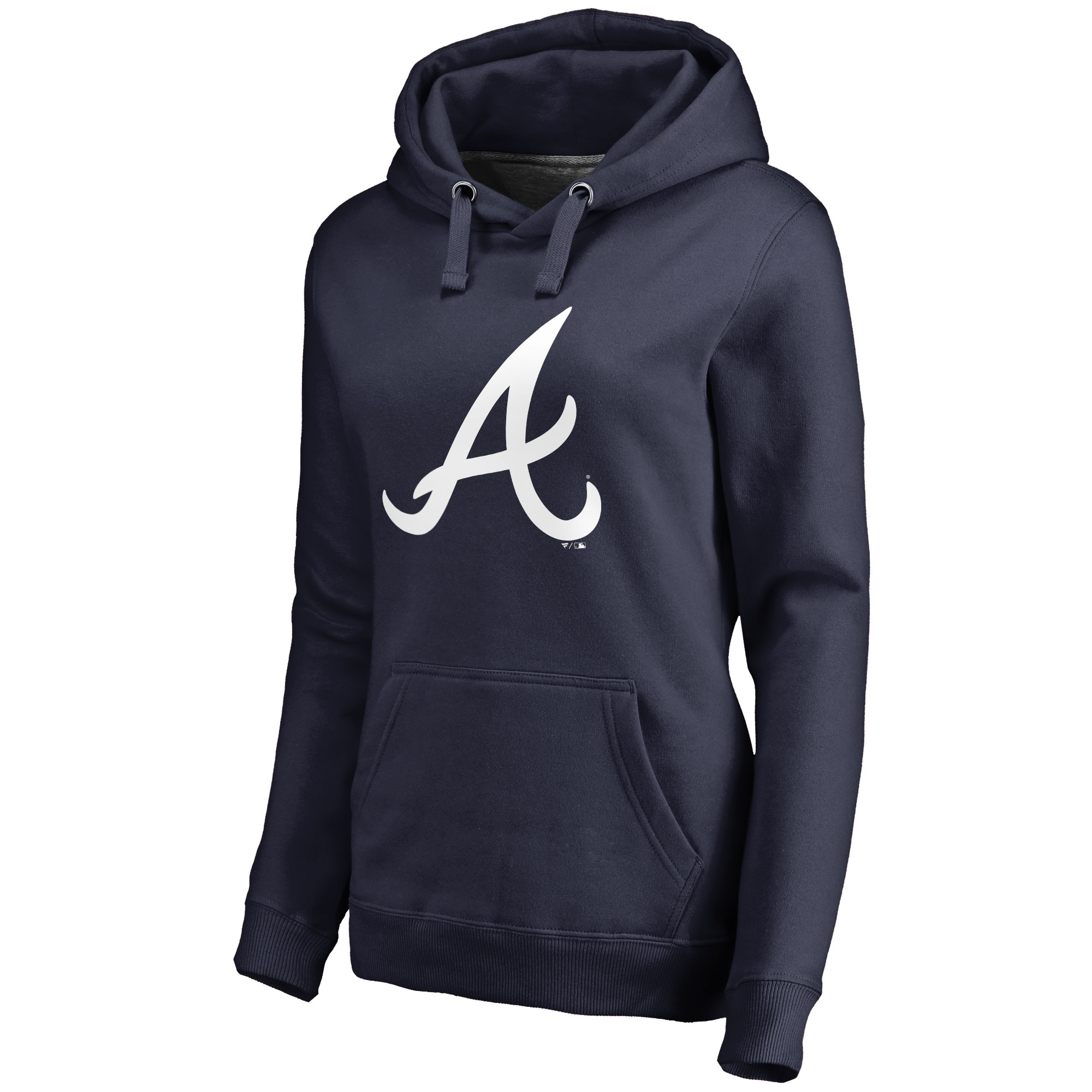 Atlanta Braves Women's Team Color Primary Logo Pullover Hoodie - Navy
