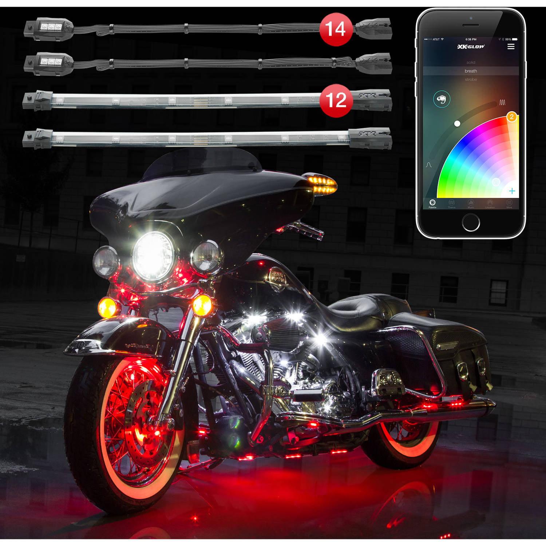 XKchrome App Control 16 Million Color, 14 Pod, 12 Strip Motorcycle LED Accent Professional Kit