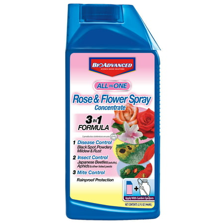 BioAdvanced All-in-One Rose & Flower Spray, Concentrate, Insect & Pest Killer, 32 oz
