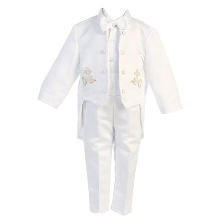Angels Garment Little Boys White 5 pcs Gold Embroidered Tuxedo 2T-7