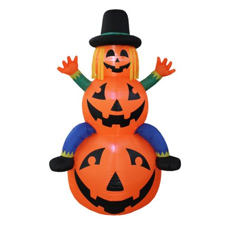 The Holiday Aisle Halloween Scarecrow Inflatable on Pumpkins (Inflatable Halloween Decorations Yard)