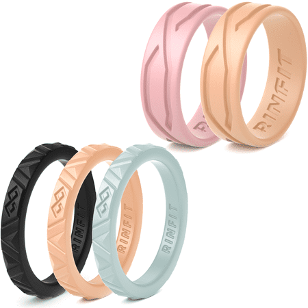 Silicone Wedding Rings for Women - 5 Rings Pack - Mix Collection Rinfit Designed Ring. Thin 2.5 / 5.5 mm wide - Stackable & Thin rubber Wedding Bands. Metal Free, Safe & Comfortable size 5 ()