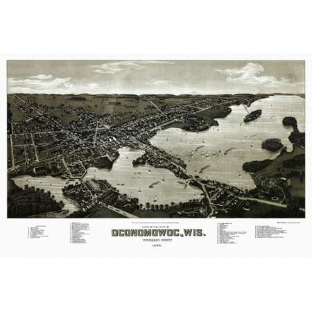Antique Map of Oconomowoc Wisconsin 1885 Waukesha County Poster -