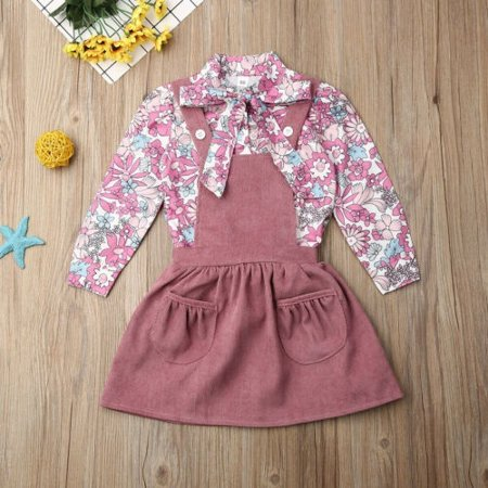 Toddler Baby Girls Princess Dress Long Sleeve Floral Blouse Shirt Strap Skirt Autumn Outfit Clothes Set