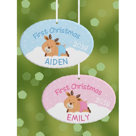 Personalised Christmas Ornaments (Personalized First Christmas Baby Reindeer Oval Christmas)