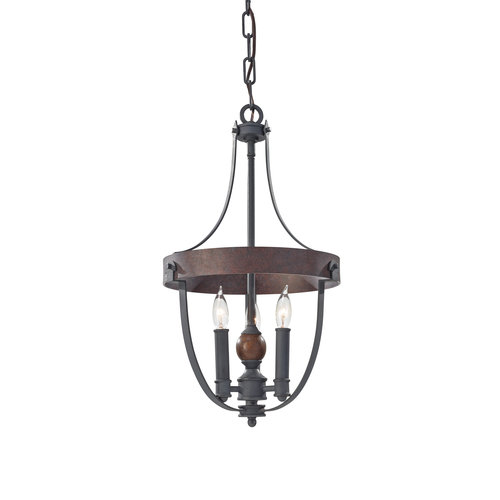 """Feiss Alston 12"""" 3-Light Chandelier in Charcoal Brick and Acorn Finish by Murray Feiss"""