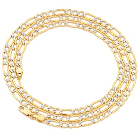 14K Two Tone Gold Pave Hollow Figaro Chain Necklace with Lobster Lock (3.5mm, 16 in)