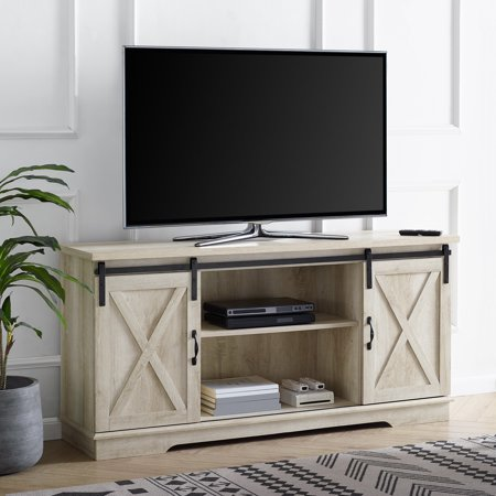 "Manor Park Modern Farmhouse Sliding Barn Door TV Stand for TVs up to 64"" - Solid White Oak"