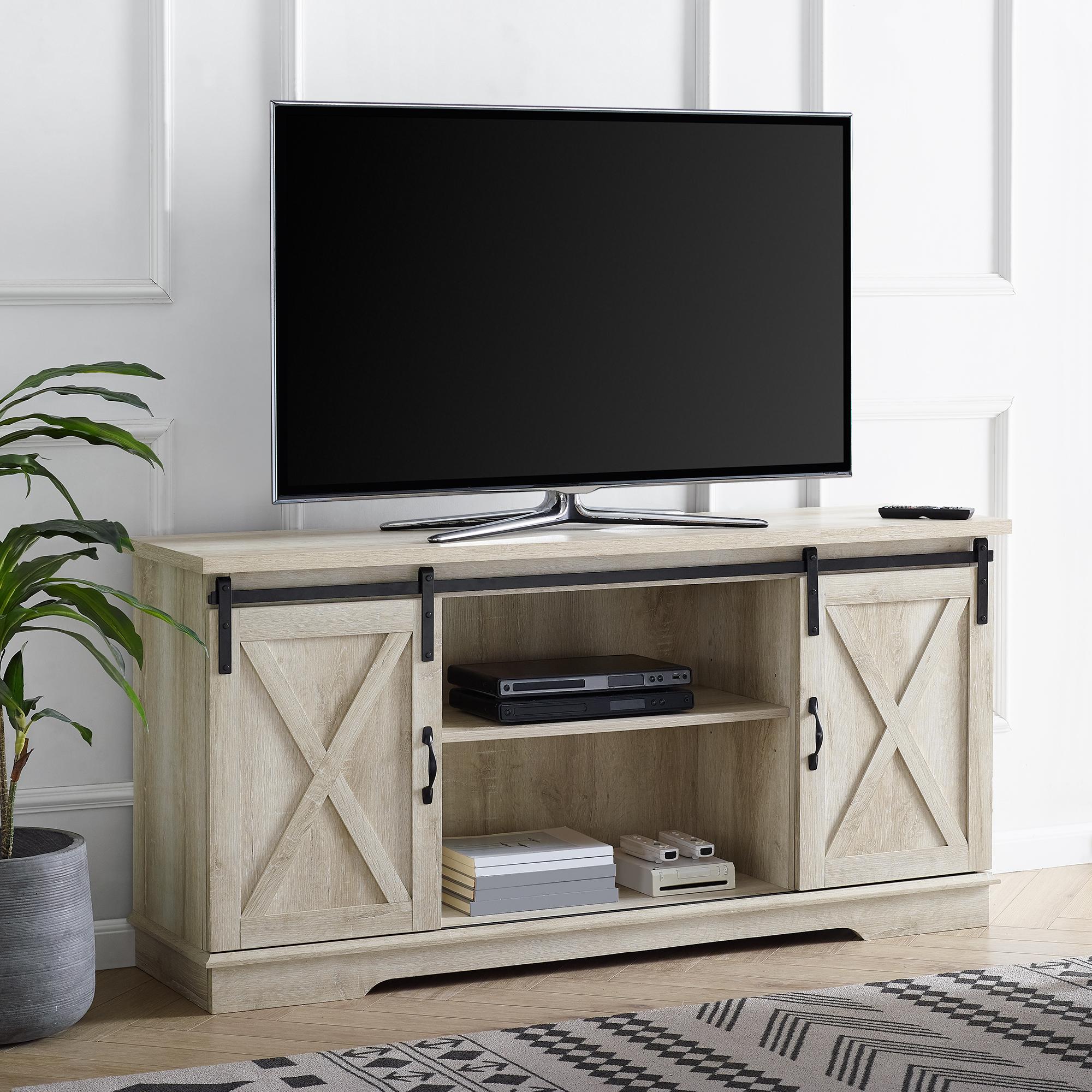 """Manor Park 58"""" Modern Farmhouse Sliding Barn Door TV Stand - Solid White Oak"""