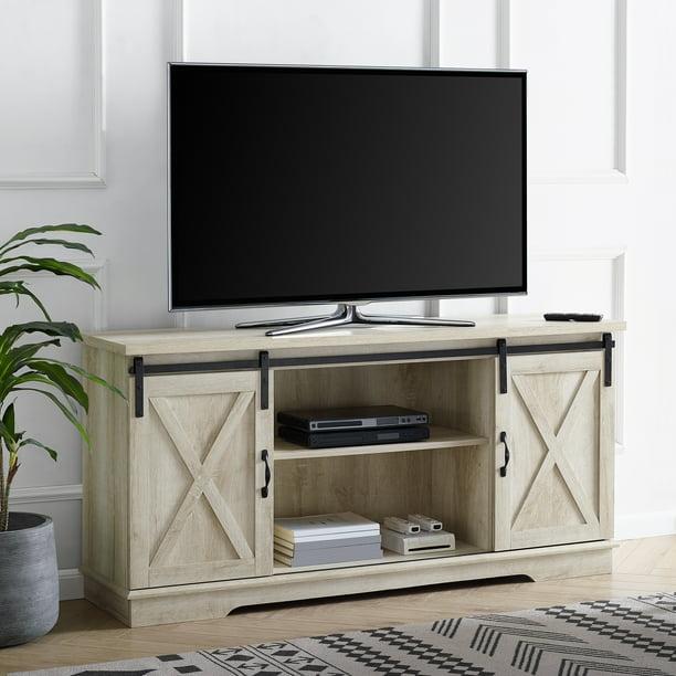 Manor Park Farmhouse Oak Barn Door Tv Stand For Tvs Up To 65 White Oak Walmart Com Walmart Com