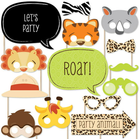 Funfari - Fun Safari Jungle - Piece Photo Booth Props Kit - 20 Count