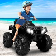 Ride-On ATV Cars for Kids | 4-Wheels 12V Electric Powered Riding Toys with LED Headlights & USB Music Board for 6-12 Years Boys Girls - 3.7mph Max without Remote Control
