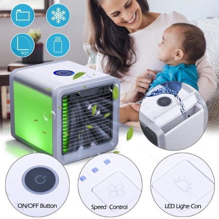 Mini Desktop Portable Air Conditioner USB Small Fan Cooling Cooler Air Purifier, Humidifier & Quiet Fan For Bedroom, Desktop & Office - 7 Color LED