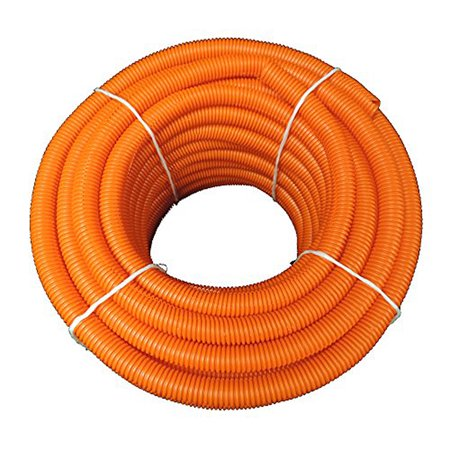 "Flexible Corrugated LDPE Split Loom Tubing - Orange - 1/2"" Dia. x 100 ft"
