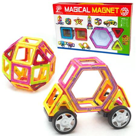 40 Piece Magnetic Tile Building - Magnetic Building Set