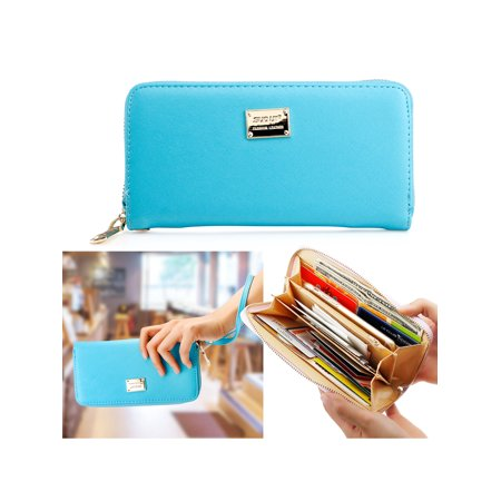 Pink Leather Checkbook Wallet - Fashion Lady Full Zipper Faux Leather Women Wallet Clutch Long Purse Card Holder Handbag
