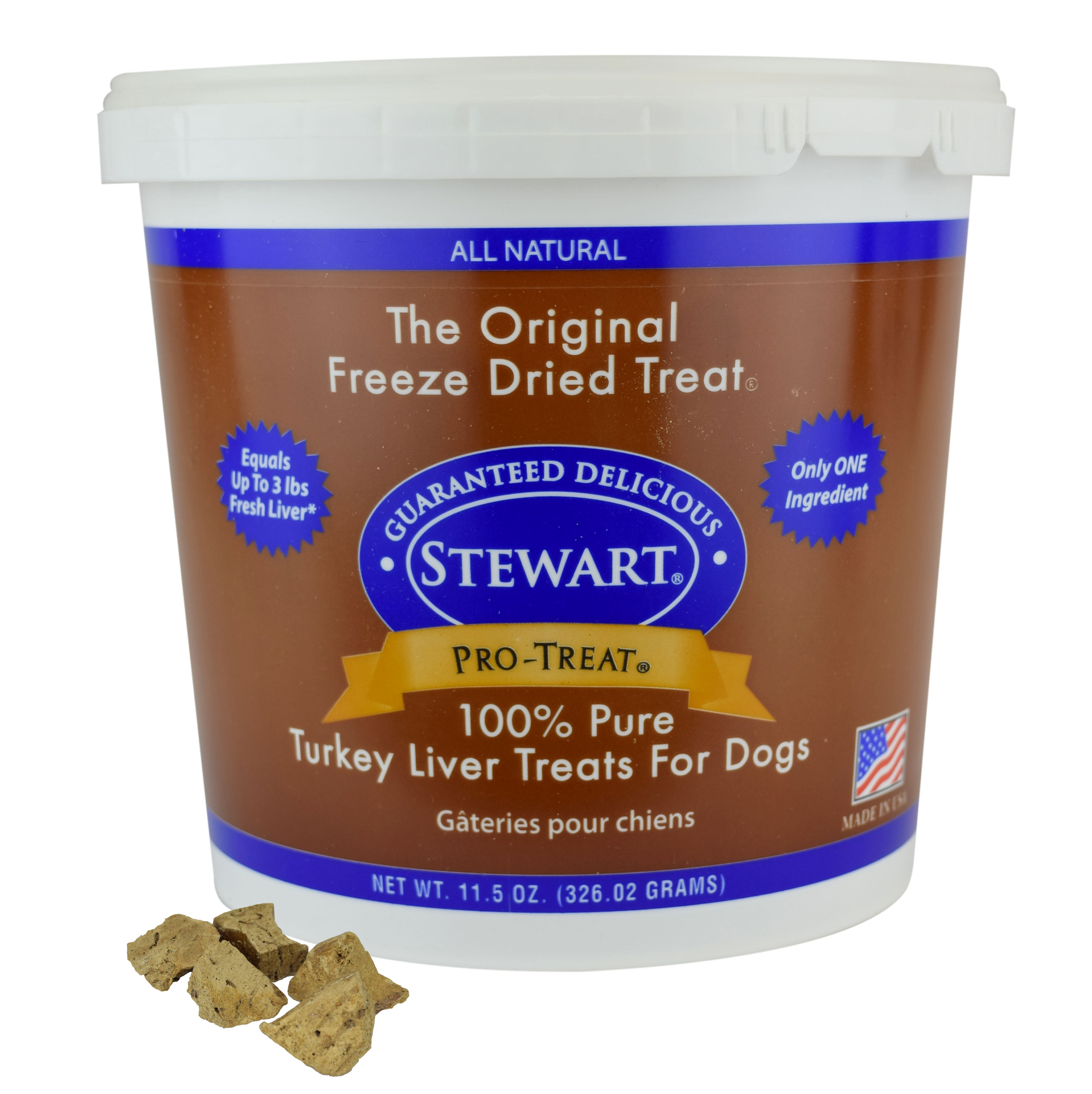 Stewart Freeze Dried Turkey Liver by Pro-Treat, 11.5 oz. Tub