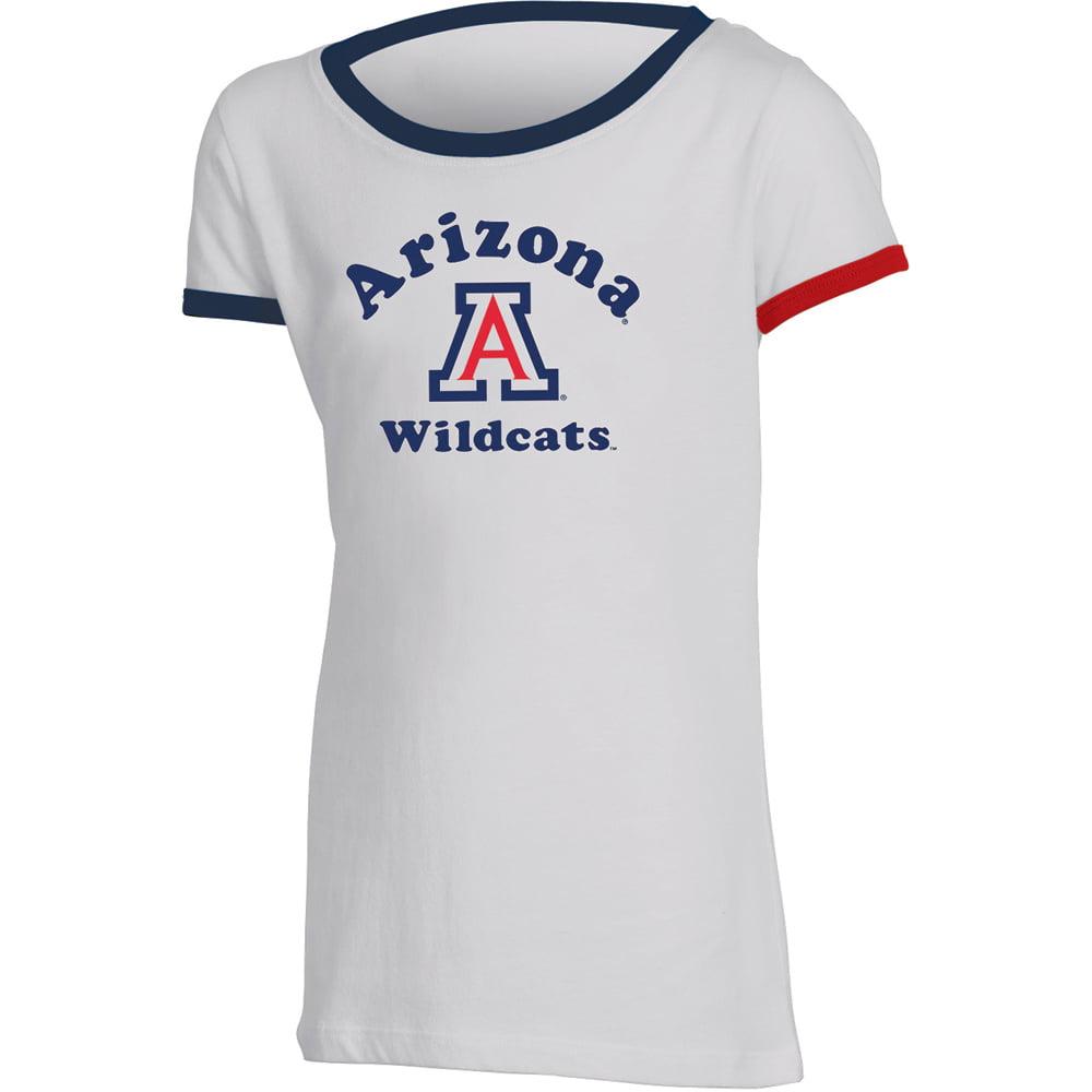 Girls Youth Russell White Arizona Wildcats Ringer T-Shirt