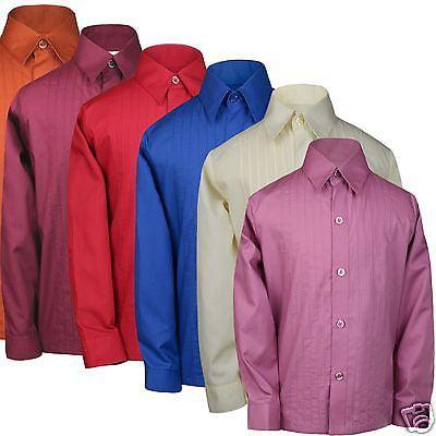 Boys Formal Tuxedo Suits Shirt Red Blue Rust Orange Pink Burgundy Ivory sz - Toddler Boy Red Dress Shirt