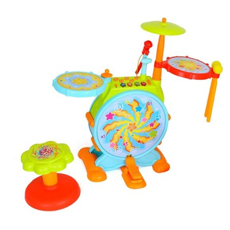 Play Baby Musical Big Toy Kids Drum Set With Adjustable Mic And Seat - Many Functions And Activities For Hours Of Play - Pretend To Be A Real Drummer With Drumsticks, Pedals, And Bass (Best Drum And Bass Set Ever)