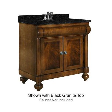 John Adams Collection 348 3600 Gh 36  Vanity With 2 Doors  Turned Bun Feet And Water Resistant Brown Cherry Finish With Gold Hill Granite Top