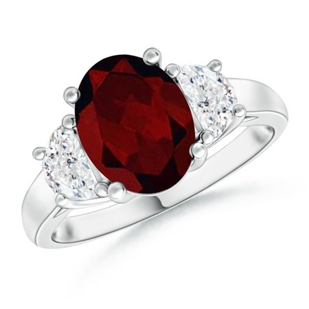 Valentine Jewelry Gift - Three Stone Oval Garnet and Half Moon Diamond Ring in Platinum (9x7mm Garnet) - SR0212GD-PT-A-9x7-6