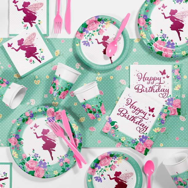 Floral Fairy Sparkle Birthday Party Supplies Kit For 8 Guests Walmart Com Walmart Com