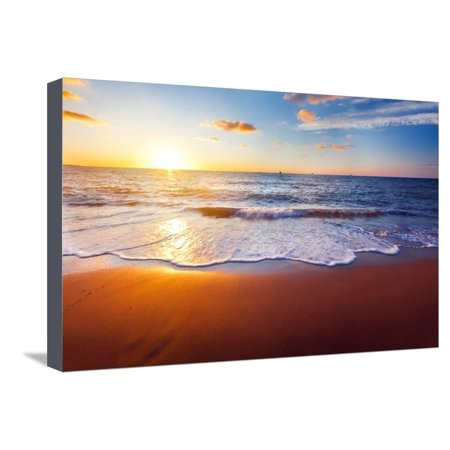 Sunset And Beach Ocean Photo Stretched Canvas Print Wall Art By Hydromet