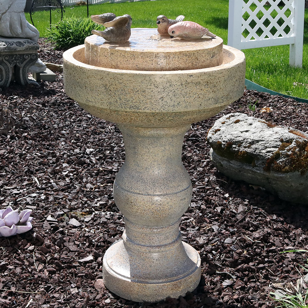Sunnydaze Feathered Friends Outdoor Bird Bath Water Fountain, 22 Inch