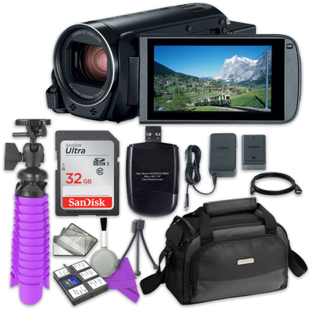 Canon VIXIA HF R80 Camcorder with Sandisk 32 GB SD Memory Card + Accessory Bundle