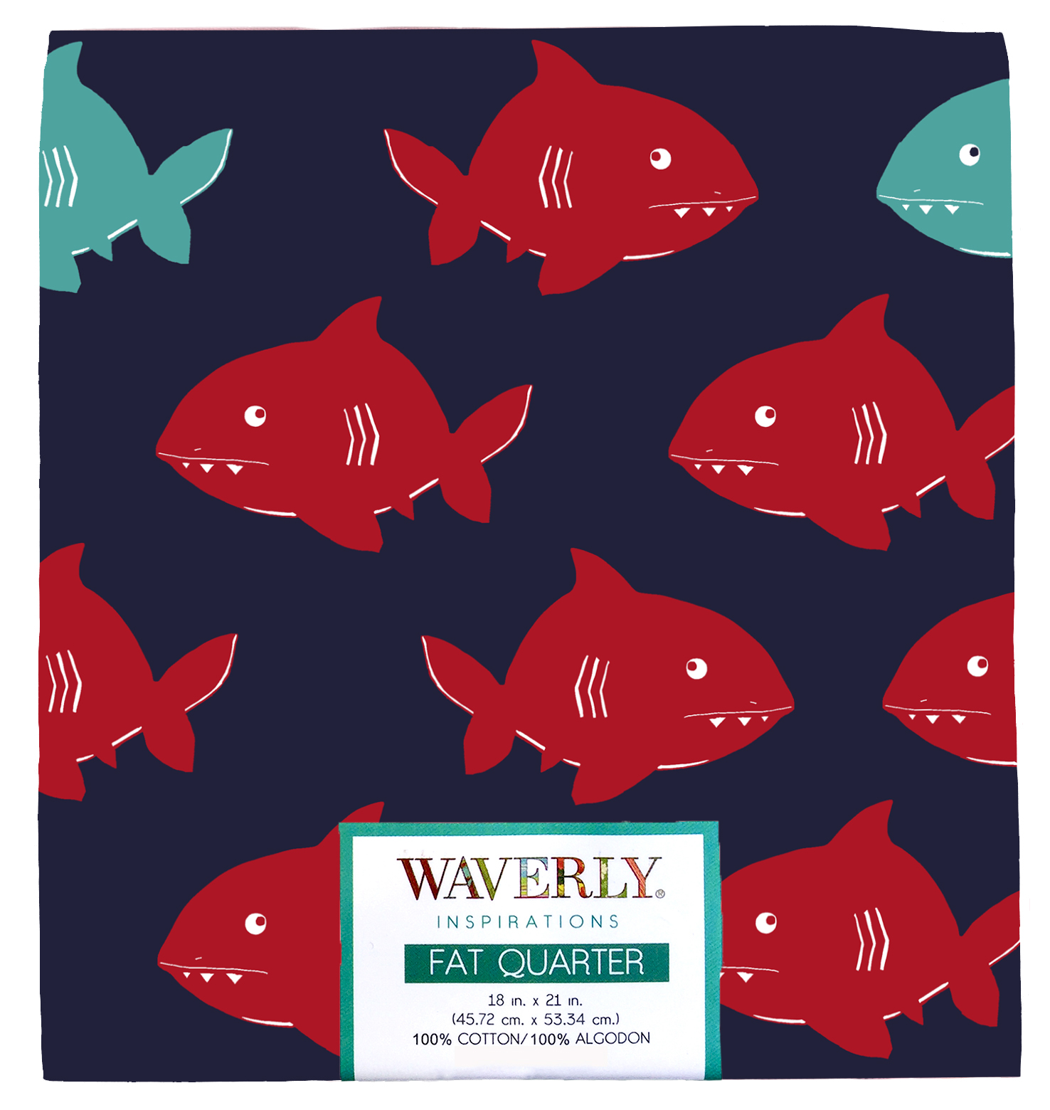 "Waverly Inspiration Fat Quarter SHARK INK 100% Cotton, Shark Print Fabric, Quilting Fabric, Craft fabric, 18"" by 21"", 140 GSM"