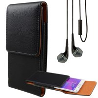 BUNDLE: Professional Vegan Leather Vertical Smartphone Holster Case (Black) & Deluxe Stereo Hands-Free Headset - fits Smartphone up to 6.5-inch iPhone XR/XS Max/XS/X/8+ Galaxy S10+/S9+ Pixel 3 XL BLU