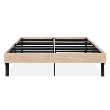 GranRest 14 Inch Classic Natural Wood Finished Platform Bed Frame ...