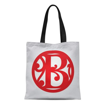 LADDKE Canvas Tote Bag Floral Single Letter Monogram B Personalized Initial Monogrammed Medallion Durable Reusable Shopping Shoulder Grocery Bag