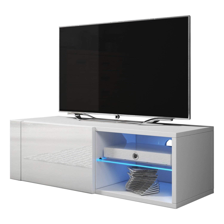 "Best Modern TV Stand Matte Body High Gloss Doors LEDs, White, 39"" Single"