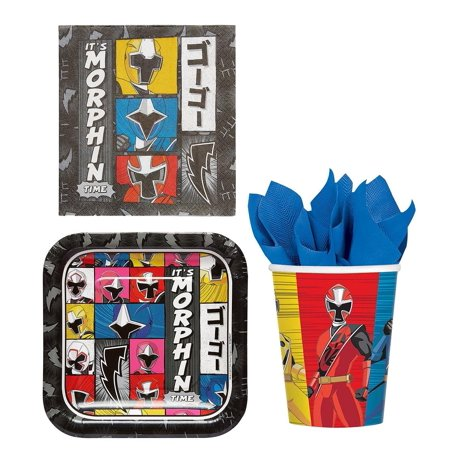 Power Rangers Party Bundle: 8x Plates, 16x Lunch Napkins, 8x Cups - Princess Party Plates And Cups