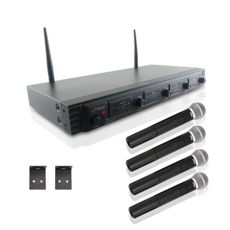 - Pyle PDWM4520 - Wireless Microphone System, UHF Quad Channel Fixed Frequency, Rack Mountable, Includes (4) Handheld Microphones