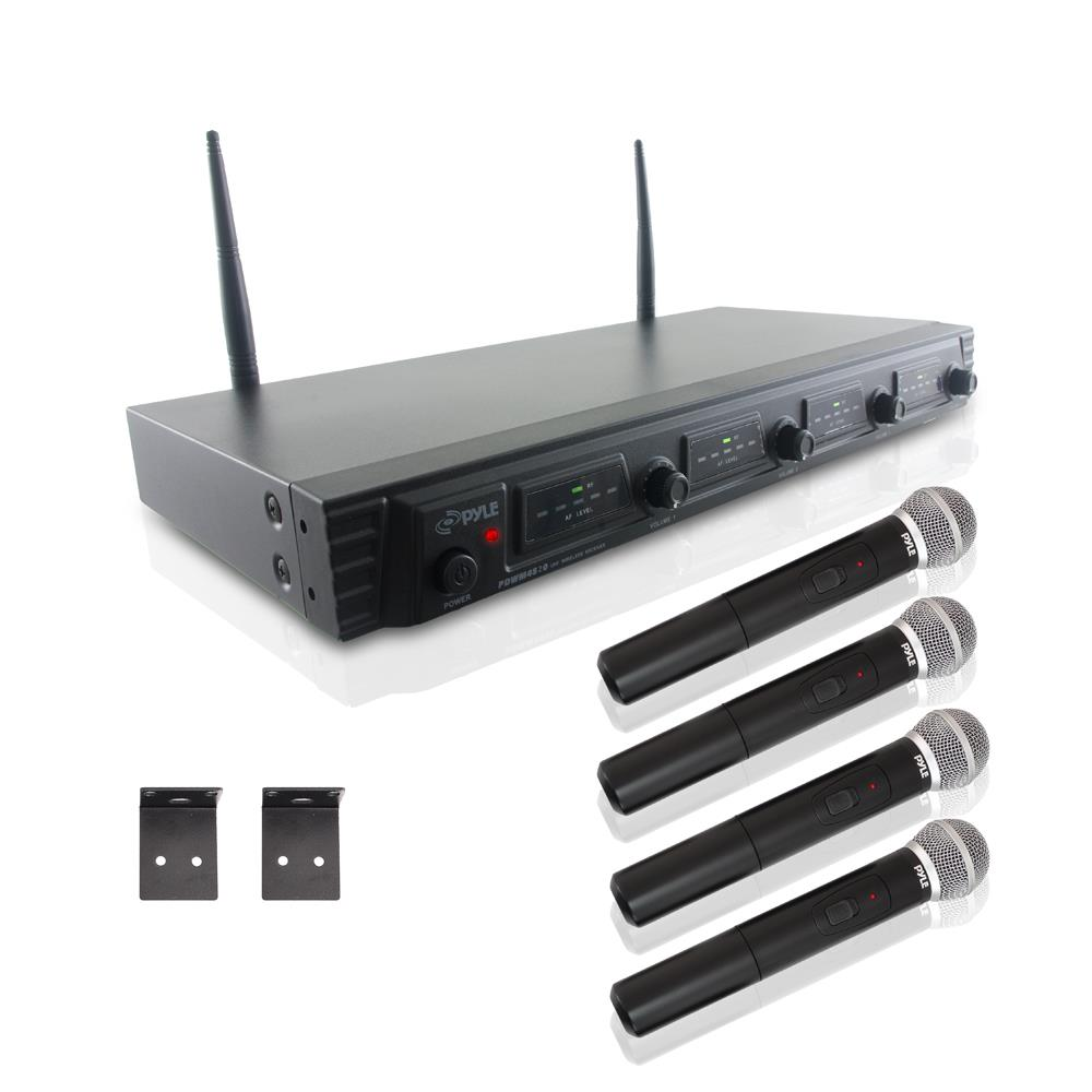 Pyle PDWM4520 - Wireless Microphone System, UHF Quad Channel Fixed Frequency, Rack Mountable, Includes (4) Handheld Microphones
